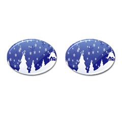 Vector Christmas Design Cufflinks (Oval)