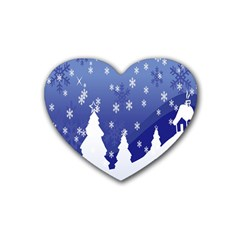 Vector Christmas Design Rubber Coaster (Heart)