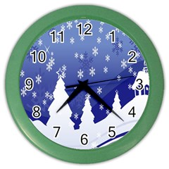 Vector Christmas Design Color Wall Clocks
