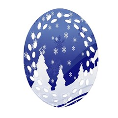 Vector Christmas Design Oval Filigree Ornament (two Sides)