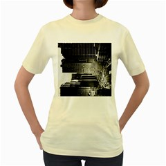 Urban Scene Street Road Busy Cars Women s Yellow T Shirt