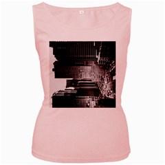 Urban Scene Street Road Busy Cars Women s Pink Tank Top