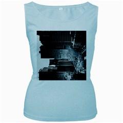 Urban Scene Street Road Busy Cars Women s Baby Blue Tank Top