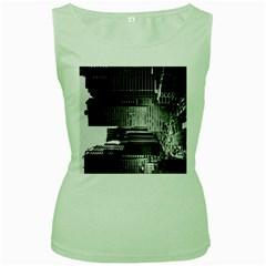 Urban Scene Street Road Busy Cars Women s Green Tank Top