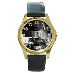 Urban Scene Street Road Busy Cars Round Gold Metal Watch