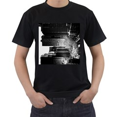 Urban Scene Street Road Busy Cars Men s T-Shirt (Black) (Two Sided)