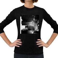 Urban Scene Street Road Busy Cars Women s Long Sleeve Dark T-Shirts