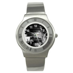 Urban Scene Street Road Busy Cars Stainless Steel Watch