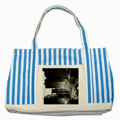 Urban Scene Street Road Busy Cars Striped Blue Tote Bag