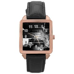 Urban Scene Street Road Busy Cars Rose Gold Leather Watch