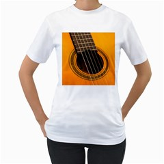 Vintage Guitar Acustic Women s T-Shirt (White) (Two Sided)