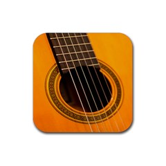 Vintage Guitar Acustic Rubber Square Coaster (4 pack)