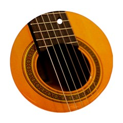 Vintage Guitar Acustic Round Ornament (Two Sides)