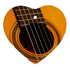 Vintage Guitar Acustic Heart Ornament (Two Sides)