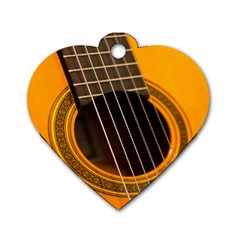 Vintage Guitar Acustic Dog Tag Heart (two Sides)