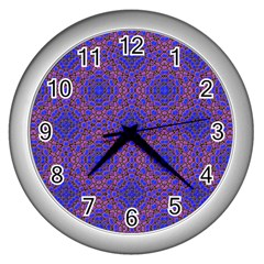 Tile Background Image Pattern Wall Clocks (Silver)
