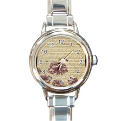 Vintage Music Sheet Song Musical Round Italian Charm Watch