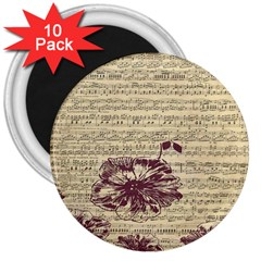Vintage Music Sheet Song Musical 3  Magnets (10 Pack)