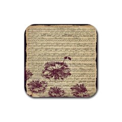 Vintage Music Sheet Song Musical Rubber Square Coaster (4 pack)