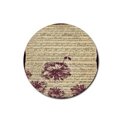 Vintage Music Sheet Song Musical Rubber Coaster (Round)
