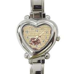 Vintage Music Sheet Song Musical Heart Italian Charm Watch