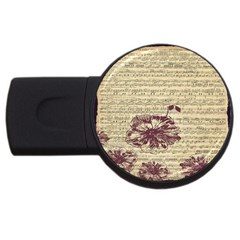 Vintage Music Sheet Song Musical Usb Flash Drive Round (4 Gb)