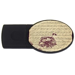 Vintage Music Sheet Song Musical USB Flash Drive Oval (4 GB)