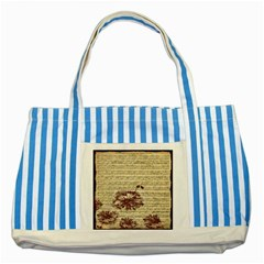 Vintage Music Sheet Song Musical Striped Blue Tote Bag