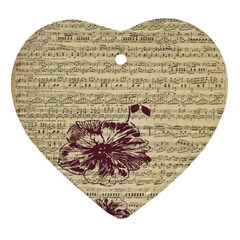 Vintage Music Sheet Song Musical Heart Ornament (Two Sides)