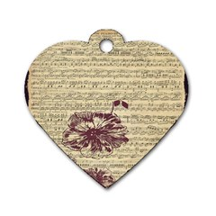 Vintage Music Sheet Song Musical Dog Tag Heart (One Side)