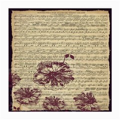 Vintage Music Sheet Song Musical Medium Glasses Cloth