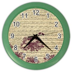 Vintage Music Sheet Song Musical Color Wall Clocks