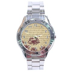 Vintage Music Sheet Song Musical Stainless Steel Analogue Watch