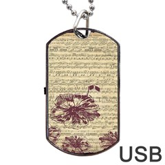 Vintage Music Sheet Song Musical Dog Tag USB Flash (Two Sides)