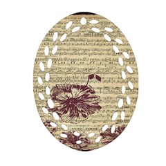 Vintage Music Sheet Song Musical Ornament (oval Filigree)