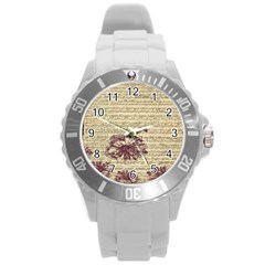 Vintage Music Sheet Song Musical Round Plastic Sport Watch (L)