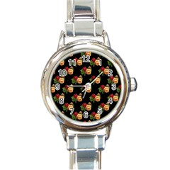 Vintage Roses Wallpaper Pattern Round Italian Charm Watch