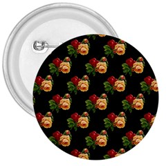 Vintage Roses Wallpaper Pattern 3  Buttons