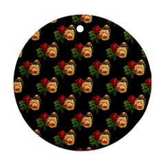 Vintage Roses Wallpaper Pattern Ornament (round)