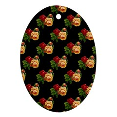 Vintage Roses Wallpaper Pattern Ornament (Oval)