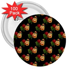 Vintage Roses Wallpaper Pattern 3  Buttons (100 pack)