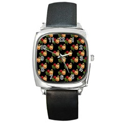 Vintage Roses Wallpaper Pattern Square Metal Watch