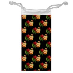 Vintage Roses Wallpaper Pattern Jewelry Bag