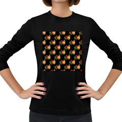 Vintage Roses Wallpaper Pattern Women s Long Sleeve Dark T-Shirts