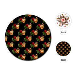 Vintage Roses Wallpaper Pattern Playing Cards (round)