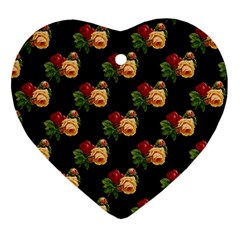 Vintage Roses Wallpaper Pattern Heart Ornament (Two Sides)