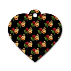 Vintage Roses Wallpaper Pattern Dog Tag Heart (two Sides)