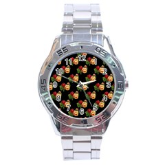Vintage Roses Wallpaper Pattern Stainless Steel Analogue Watch