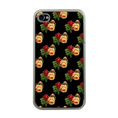 Vintage Roses Wallpaper Pattern Apple iPhone 4 Case (Clear)