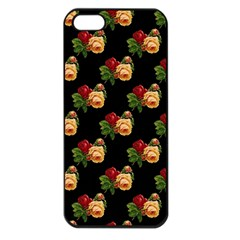 Vintage Roses Wallpaper Pattern Apple Iphone 5 Seamless Case (black)